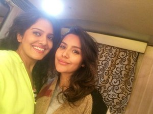 Priya Anand, Vishakha Singh on the sets of Fukrey Returns
