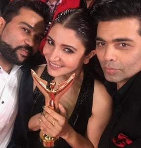 Anushka Sharma and Karan johar at Sansui Colors Stardust Awards 2016