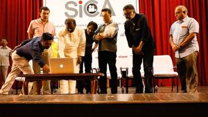 P. C. Sreeram, Bharathiraja, Kamal Haasan, Vairamuthu at SICA Tamil Website Launch Stills