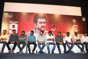 Suriya, Soori, Hari, Harris Jayaraj, Cinematographer Priyan and K. E. Gnanavel Raja at Si3 aka Singam 3 Movie Press Meet