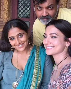 Vidya Balan, Gauhar Khan and Srijit Mukherji On The Sets Of Begum Jaan
