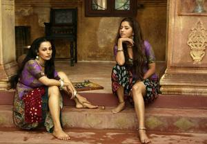 Flora Saini, Ridheema Tiwary working stills from Begum Jaan