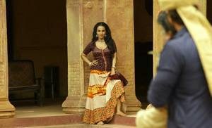 Flora Saini working stills from Begum Jaan