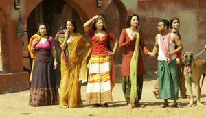 Flora Saini, Pallavi Sharda, Gauahar Khan, Ridheema Tiwary and Priyanka Setia working stills from Begum Jaan