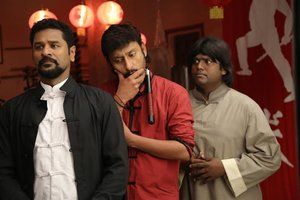 New stills of Prabhu Deva, Ashvin Raja and RJ Balaji from Yung Mung Sung movie