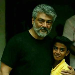 Stunning Actor Ajith with kids Images.